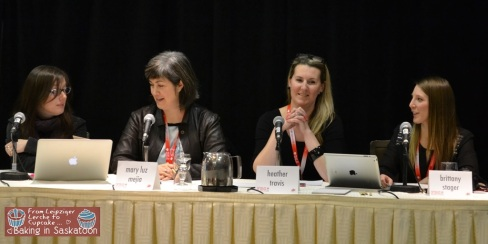 From left to right, Mardi Michels, Mary Luz Mejia, Heather Travis, and Brittany Stager talking about Food bloggers and brands relationship