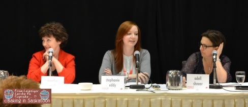 From left to right: Mairlyn Smith, Stephanie Eddy, and Adell Shneer speaking about how to develop recipes for your blog.