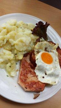 Leberkäse, potato salad, egg