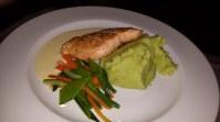 Salmon, mashed potatoes, veggies