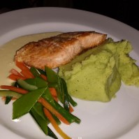 Salmon, mashed potatoes, veggies